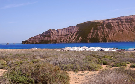Northern Lanzarote coast seen from La Graciosa, Canary Islands Stock Photo - 25834175