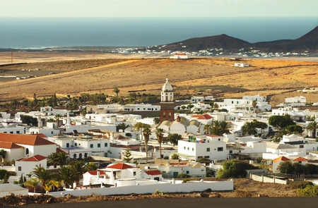 Teguise city view from Mount Guanapay, Lanzarote, Canary Islands Stock Photo - 26519646