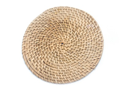 wicker plate isolated on white background