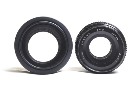 bright lens 50mm f 1 4 and f 1 9 isolated on white background