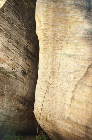 writings on monadnock rocks in Skalne Mesto Ardspach Czech Republic, Sudety, Stolowe mountains Stock Photo