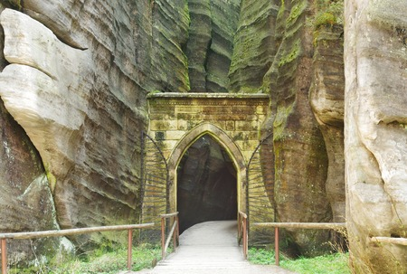 the door to Skalne Mesto Adrspach Czech Republic, Sudety, Stolowe Mountains Stock Photo