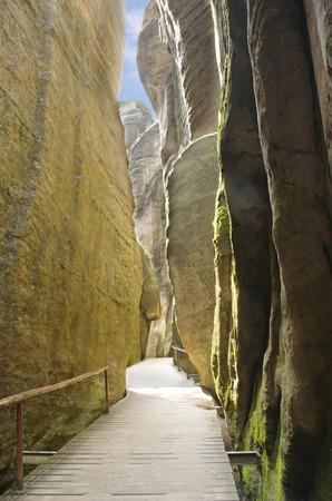 narrow path among rock walls in Skalne Mesto Adrspach Czech Republic, Sudety, Stolowe mountains