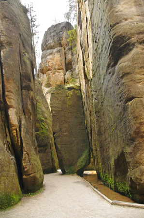 narrow path among rock walls in Skalne Mesto Adrspach Czech Republic, Sudety, Stolowe mountains Stock Photo - 28104341