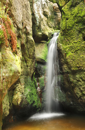 little waterfall in Skalne Mesto Adrspach Czech Republic  Sudety, Stolowe Mountains