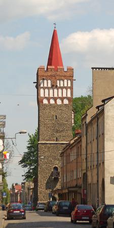 street of Paczkow city of towers, Silesia, Poland