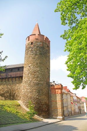 leaning tower in Paczkow city of towers, Silesia, Poland