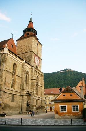 City name and the Black Church in Brasov, Transylvania, Romania