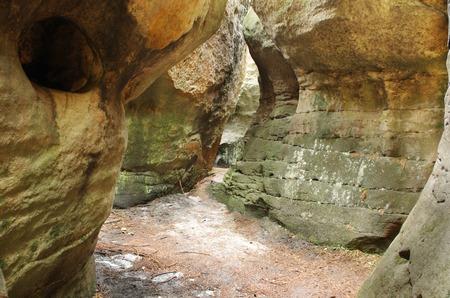 narrow path among rock walls in Bledne Skaly in Gory Stolowe Polska Poland, Sudety, Stolowe mountains Stock Photo - 30121030