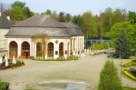 sanitarium: The pump-room and the park gate in Kudowa Zdroj, lower silesia, Poland