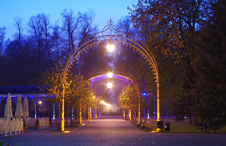 the park gate in Kudowa Zdroj, lower silesia, Poland at night