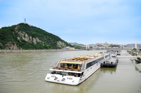 Barge on the Danube river in Budapest, Hungary Stock Photo