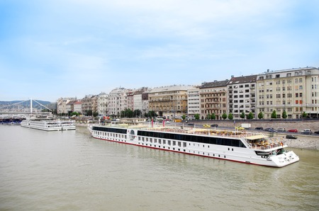 Barges on the Danube river in Budapest, Hungary Stock Photo