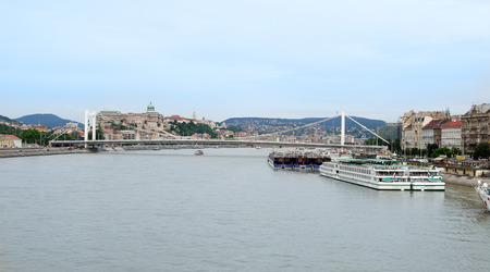 Barge on the Danube river in Budapest, Hungary Stock Photo - 30667559