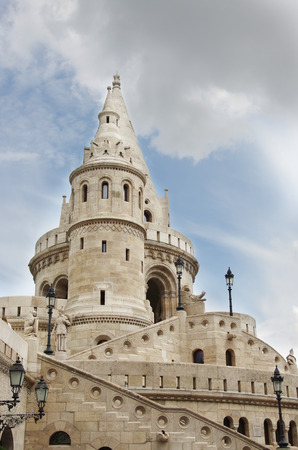 bastion: The Fisherman s Bastion on the castle hill in Budapest, Hungary Editorial