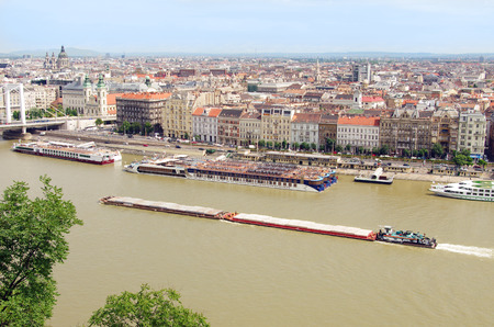 Barges on the Danube river in Budapest, Hungary Stock Photo - 30668427