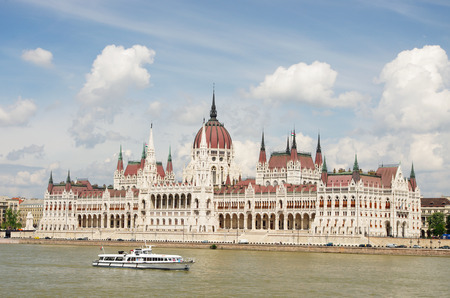 Hungarian Parliament Building over Danube river in Budapest, Hungary Stock Photo - 30671437
