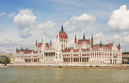 Hungarian Parliament Building over Danube river in Budapest, Hungary Stock Photo - 30671438