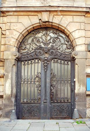 beautiful art nouveau door gate with iron flower motives