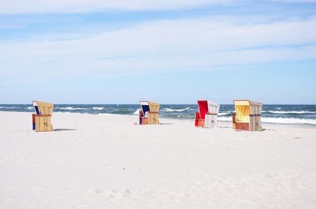 wit baskets white sand beach, Jurata, Hel, Poland