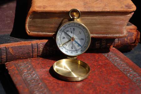 Antique Vintage brass pocket compass leather bound books