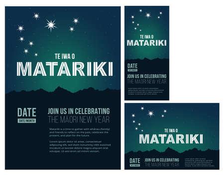 NZ The nine stars of Matariki Maori New Year, star constellation