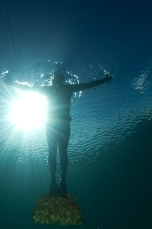 A man freediving in a monofin Stock Photo - 8889927