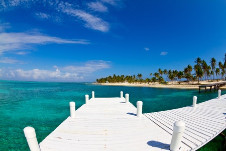 white jetty on a tropical island