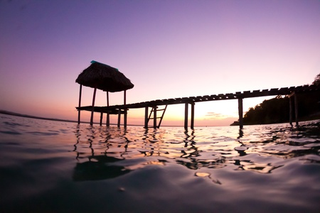 Another beautiful day ends in lake Peten, Guatemala.