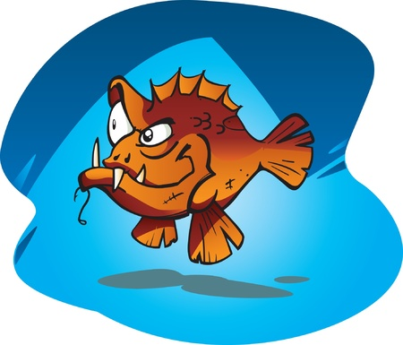 A cartoon Red Bass, the badest fish on the reef! Stock Vector - 9227716