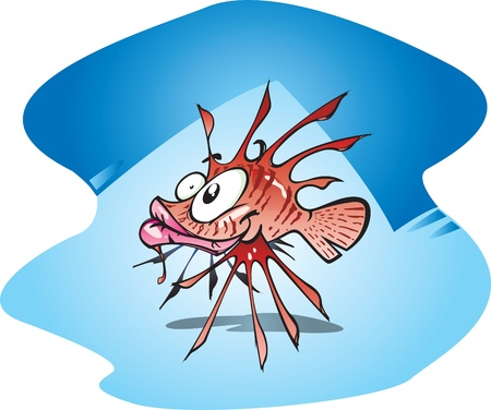lionfish: A Cartoon of the beautiful but poisonous lionfish.
