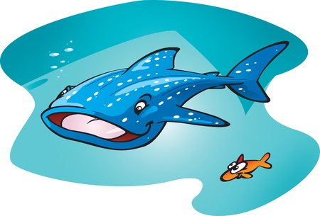 A Cartoon Whale sharks glides by his little friend. Stock Vector - 9320279