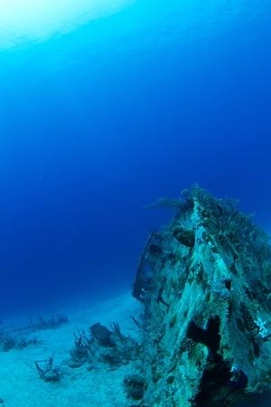 A sunken ship off The Caribbean coast.