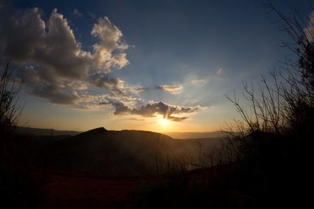 The sunset at Volcano Masaya Stock Photo