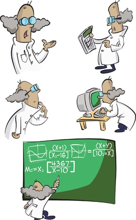 mad man: A group of cartoon mad scientist try to calculate everthing!