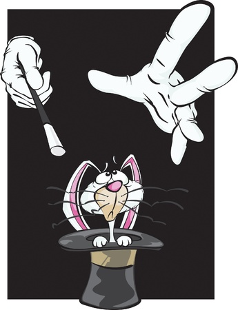 A confused cartoon white rabbit looks up at the magicians hands