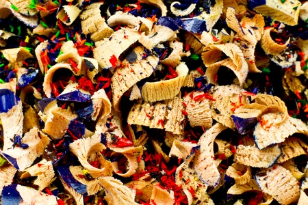 pencils  clutter: close up of Artist pencil shavings in a huge pile.