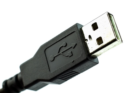 Close up of a USB connection isolated on white.