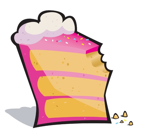 Vector cartoon of a pretty pink slice of cake missing a bite! Vector