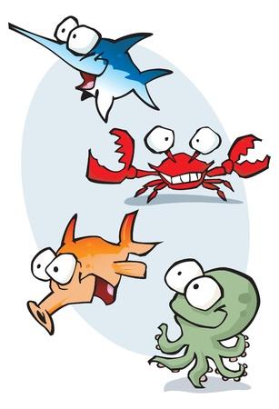 황새치: 벡터 형식으로 행복 만화 바다 생물의 컬렉션입니다.