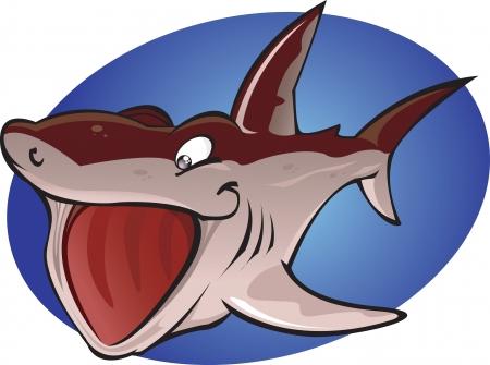 plancton: Una ilustraci�n de dibujos animados del segundo pez m�s grande en el oc�ano. El inofensivo tibur�n peregrino comer plancton. Parte de una serie de especies de tiburones diferentes. Vectores
