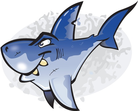 underwater fishes: A cartoon illustration of the undisputed King of fish the Great White Shark. Part of a series of Various shark species.