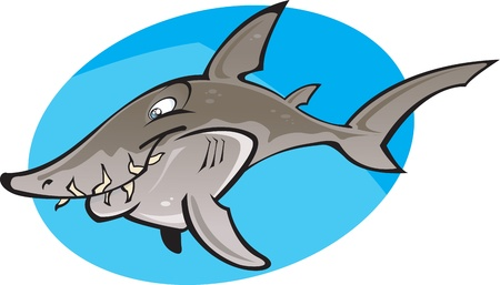 oceanic: A cartoon illustration of the fearsome looking but totally harmless Grey nurse shark. Some times called a Sand tiger or Raggy tooth shark . Part of a series of Various shark species.