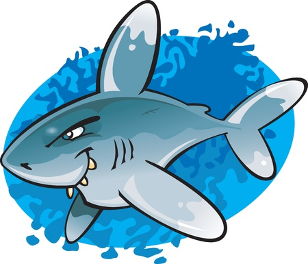 A cartoon illustration of the odd looking and potentially dangerous Oceanic White Tip Shark. Part of a series of Various shark species. Vector