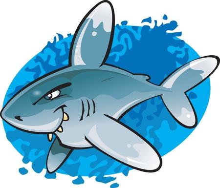 punta: Un esempio del cartone animato strano guardare e potenzialmente pericoloso Tip Shark Oceanic White. Parte di una serie di varie specie di squali. Vettoriali