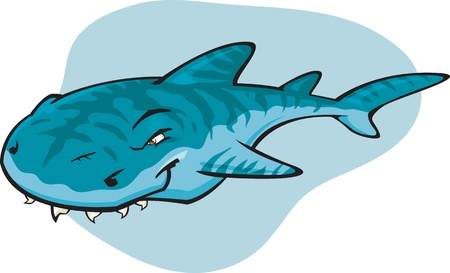 art: A cartoon illustration of the notorious Tiger Shark. Part of a series of Various shark species.