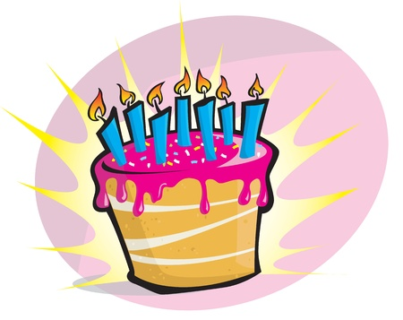 A hige pink birthday cake with candles  Vector