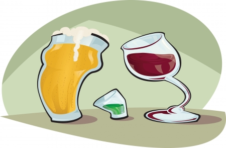 Cartoon Vector illustration of a pint of beer and a glass of red wine looking down upon a shot glass full of green liquor