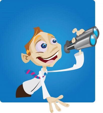 A humourous cartoon character uses binoculars to look into the future.