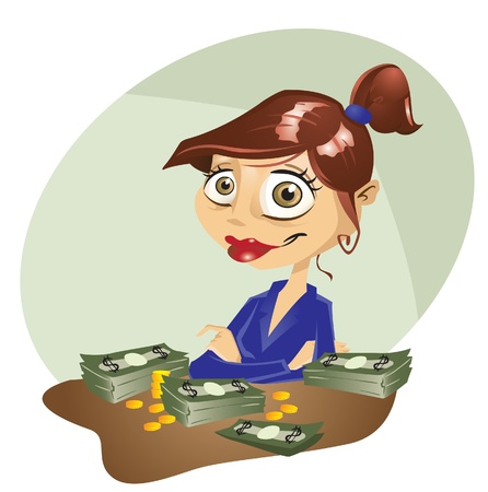 banker: A female cartoon character smiling at her success.